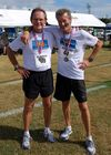 Bob and Frank sport their medals at the Senior Games in Tampa.
