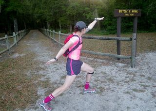 Jen Lanterman striking her signature 'Z' pose at Croom