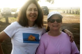 Debbie Voiles and Patti Menendez at Patriot's Park after the Bayshore run.