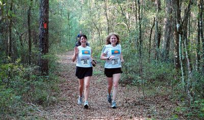 Dan Salmon caught this picture of Sherry Scallon and Diane Bennett running strong and looking good.